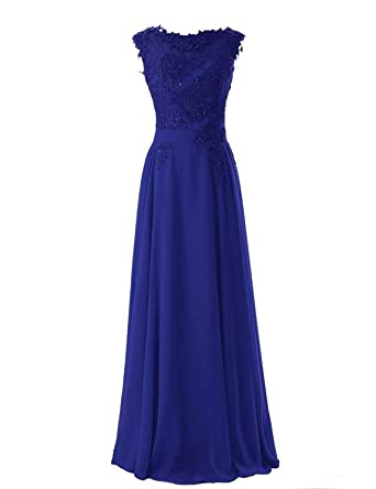 BessDress Elegant Cap Sleeves Prom Dresses Lace Appliques Evening Party Gown BD022