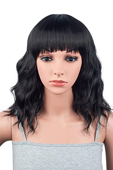 Amazon Com Natural Looking Medium Long Wavy Wigs For Black Women