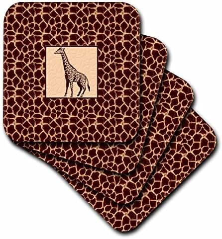 3dRose cst_38689_4 Giraffe Print with Giraffe Ceramic Tile Coasters, Set of 8