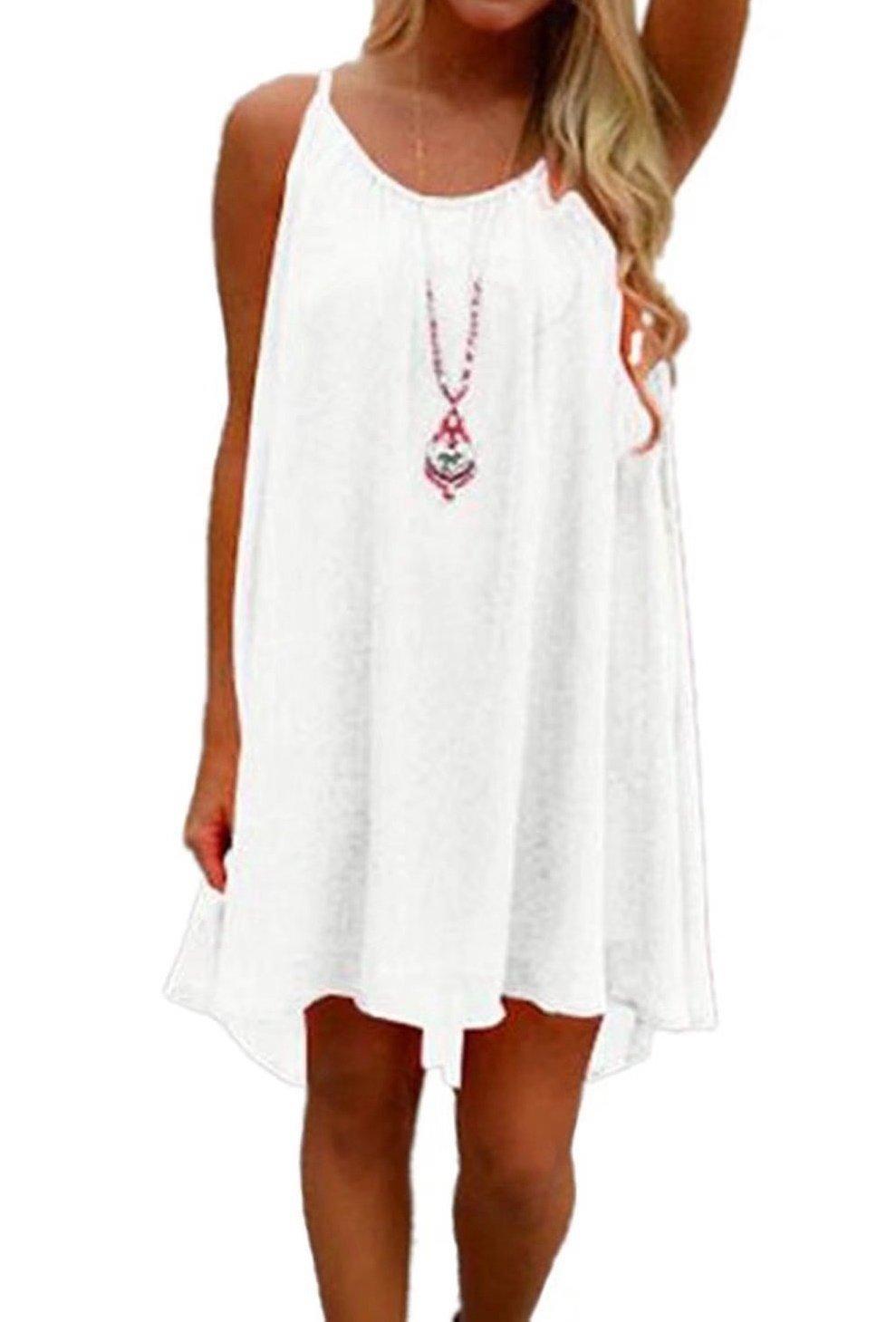 LeaLac Women's Summer Cotton Bathing Suit Cover up Beach Bikini Swimsuit Swimwear Crochet Dress Gift for Women Q24843 White