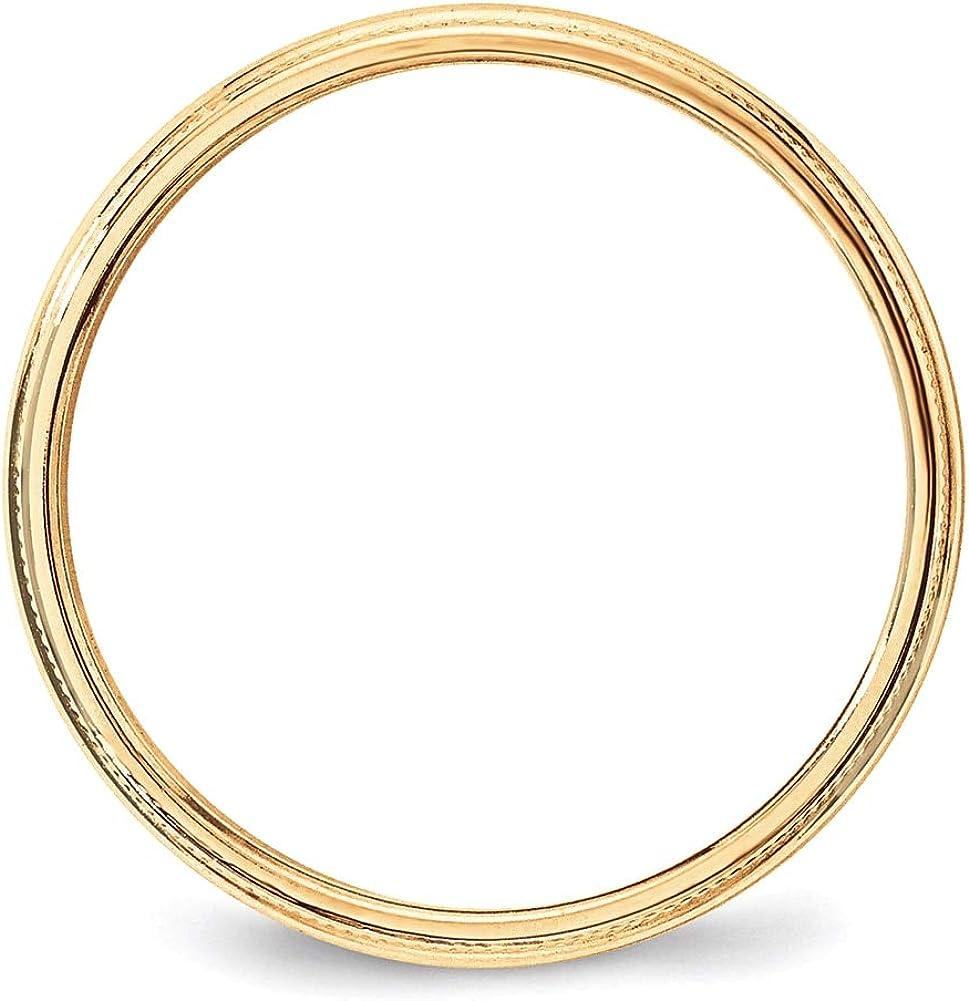Lex /& Lu 14k Yellow Gold 3mm LTW Milgrain Half Round Band Ring