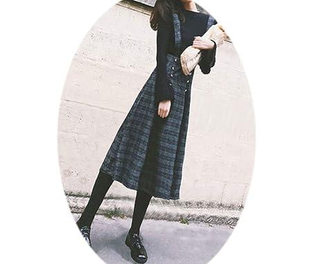 Amazon.com: Vestido de lana para mujer con correa Ulzzang de ...