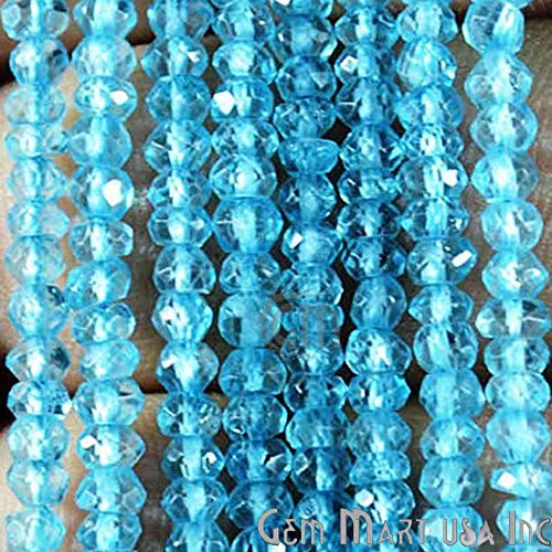1 Strand Blue Topaz Rondelle Micro Faceted 3-4mm 13