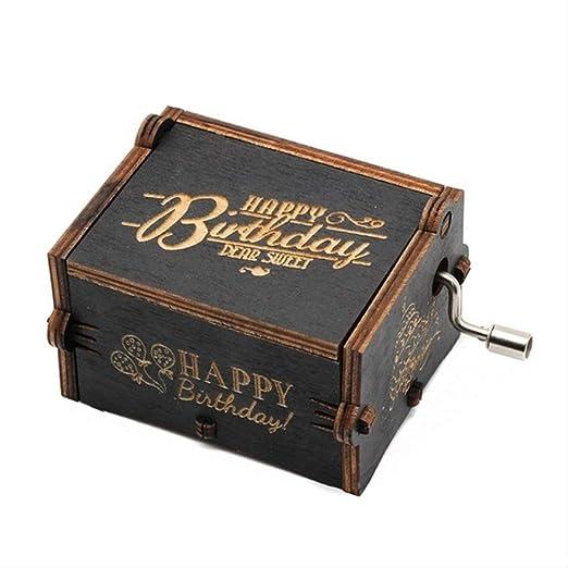 LYXL Caja Musica Niña Castillo En El Cielo Juego De Tronos Caja De Música De Star Wars Caja De Música De Madera Regalo De Cumpleaños Mango De Madera Tallado Antiguo Feliz CUMPLEAÑOS: