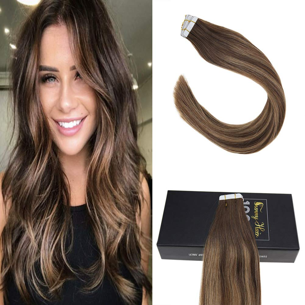 Amazon Sunny 16 Brazilian Human Hair Extensions Tape 4 Dark