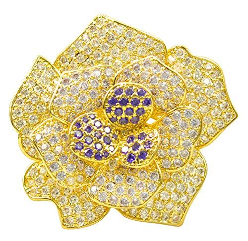 Gyn&Joy Mothers'Gifts Luxury CZ Rose Flower Multi-Layer Petals 18K Gold Plated Breastpin Brooch Pin (Brooch Vintage 18k)