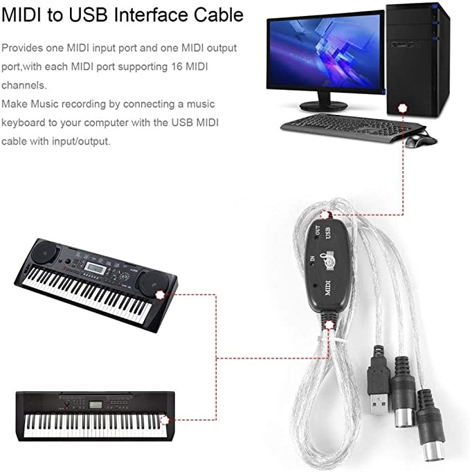 Excelente] Midi to USB Interface Cable Adapter for Converter ...