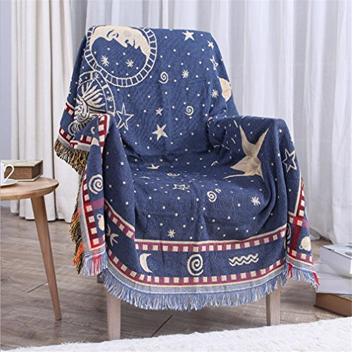 Double-Sided Chenille Jacquard Tassels Cashmere Woven Throw Blanket Decorative Sofa Chair Cover Tablecloth- Starry Sky,130160cm