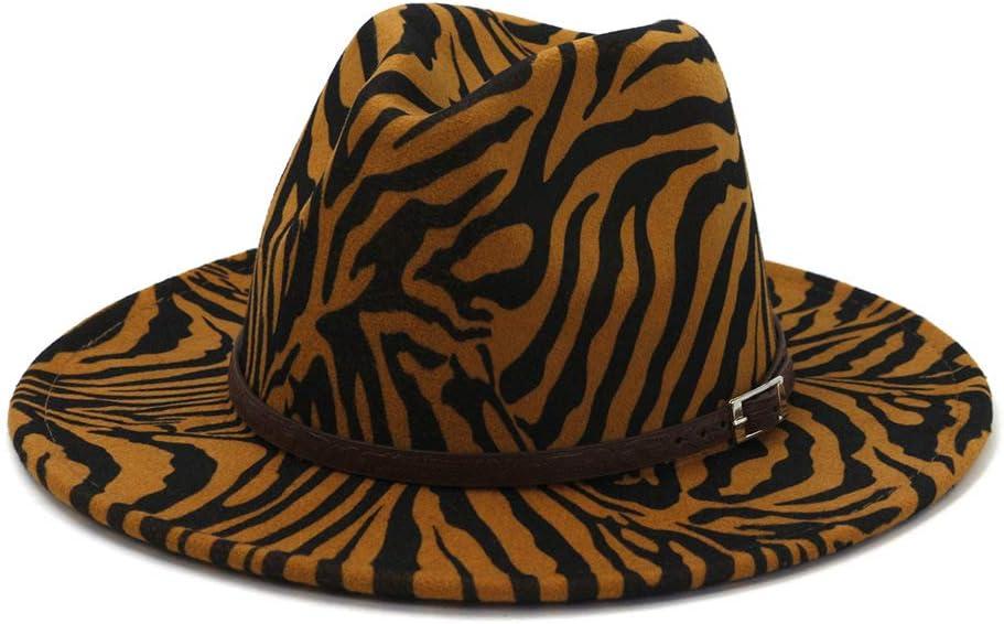 DOTXX Hommes Femmes Large Bord Chapeaux Fedora Et Trilby Motif Z/èbre Panama Chapeau avec Boucle de Ceinture Marron Taille Unique pour La Plupart des Adultes