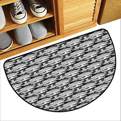 DILITECK Waterproof Door mat Whale Abstract Ocean Inhabitants Flying Between Clouds and Stars Fantastic Illustration Antifouling W31 xL20 Black White