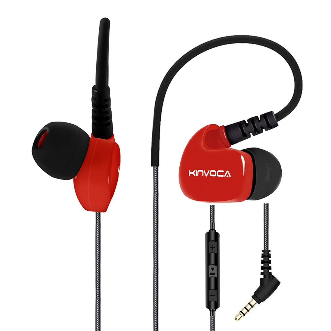 KINVOCA Wired Sweatproof Earhook in Ear Sport Workout Headphones Noise Isolating Over Ear Earbuds with Microphone Remote for Running Jogging Gym Exercise Earphones Cell Phone Ear Buds Headset Red