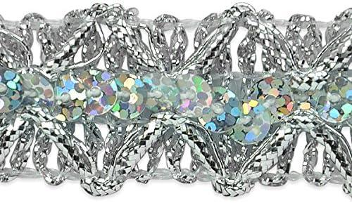 Silver 20 yd Expo International Sheba Diamond Sequin Braid Trim