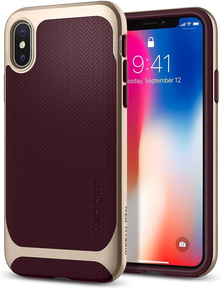Spigen Neo Hybrid Designed for Apple iPhone X Case (2017) - Burgundy & Champagne Gold