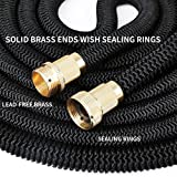 Crenova 50ft Extendable Garden Hose Expending Hose with Double Latex Core, Solid Brass Connector and...