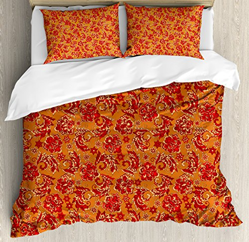 Ambesonne Batik Duvet Cover Set Queen Size, Nostalgic Western European Medieval Renaissance Inspired Eastern Bohemian Pattern, Decorative 3 Piece Bedding Set with 2 Pillow Shams, Red Orange
