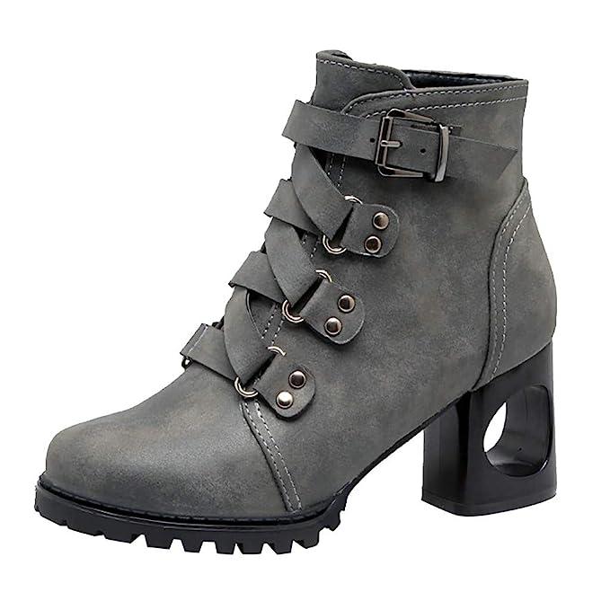 Botines LMMVP Damas de Tacón Alto Otoño e Invierno Color Sólido Retro con Botas Casuales Botas Desnudas Zapatos Retros de Moda Zapatillas Vintage ...