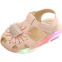 Toddler Baby Led Light Luminous Sandals Girls Crystal Flower Summer Sport Sneaker Sandals Flip Shoes Flat Lightweight Casual Shoes Outdoor Beach Pool Bath Slippers Sandals