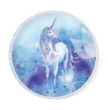 Azul y lila Unicornio redondas Toalla de playa con borlas Acuarela Unicornio playa manta Ombre Estilo