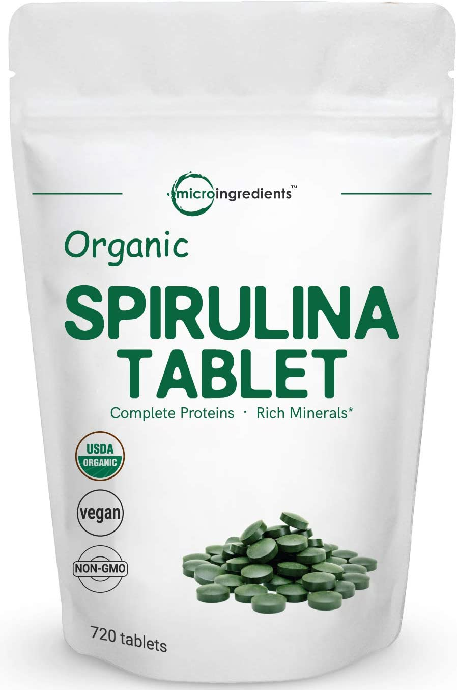 Organic Spirulina Supplement Spirulina Organic , 3000MG Per Serving, 720 Tablets 4 Month Supply , Rich in Prebiotics, Immune Vitamins, Chlorophyll, Fiber, Proteins, Premium Spirulina Pills Organic