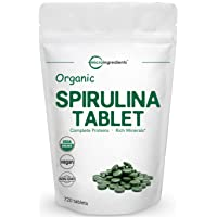 Organic Spirulina Supplement (Spirulina Organic), 3000MG Per Serving, 720 Tablets (4 Month Supply), Rich in Prebiotics, Immune Vitamins, Chlorophyll, Fiber, Proteins, Premium Spirulina Pills Organic