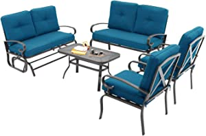 Oakmont 5Pcs(6 Seats) Outdoor Metal Furniture Sets Patio Conversation Set Glider, 2 Single Chairs, Loveseat and Coffee Table, Wrought Iron Look, Peacock Blue