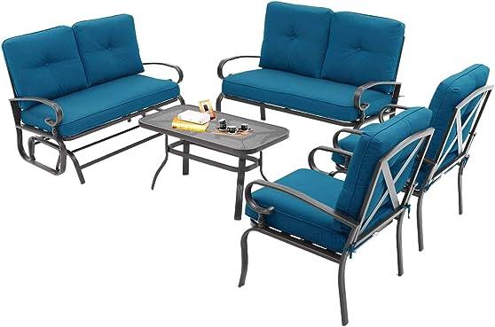 Oakmont 5Pcs 6 Seats Outdoor Metal Furniture Sets Patio Conversation Set Glider
