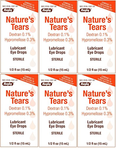 Natures Tears Sterile Eye Lubricating Drops Generic for Tears Naturale 15 ml per Bottle PACK of 6