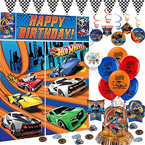 Hot Wheels Wild Racer Birthday Party Decorations Pack With Hot Wheels Scene Setter, Swirls, Balloons, Race Pennant Banner, Table Decorating Kit, and Exclusive Pin By Another Dream -