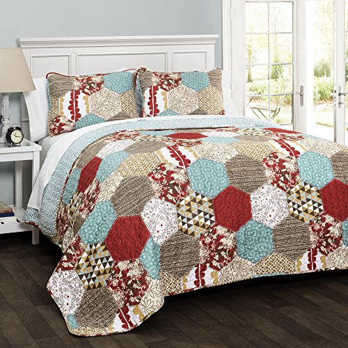 Lush Decor C43172P15-000 3 Piece Grace Patchwork Quilt Set, King, Red (Grace Quilt)