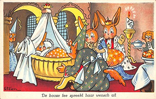Fairytale Dressed Bunny Rabbits Witch Royalty Antique Postcard J24409