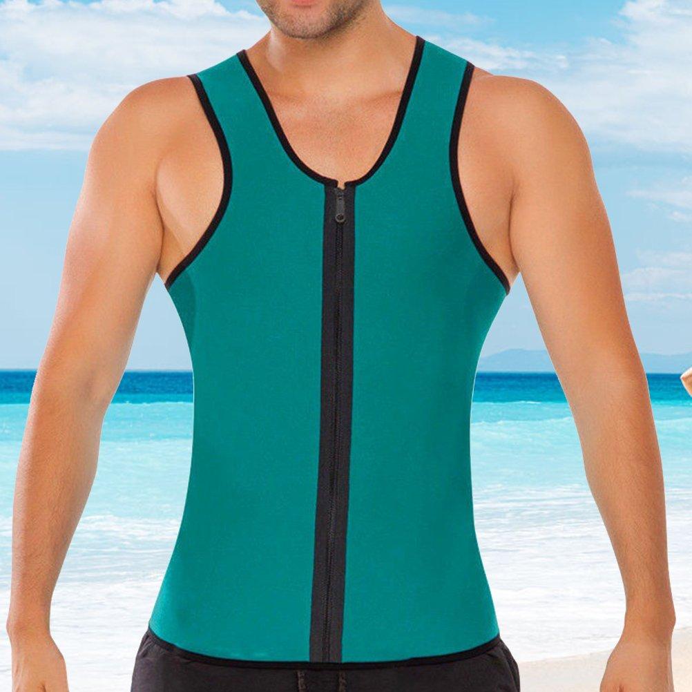 cd8cdb7e9dee8 VORCOOL Men Waist Trainer Vest Zipper Sauna Tank Top Neoprene Body Shaper  Slimming Vest Sweat Suit ...