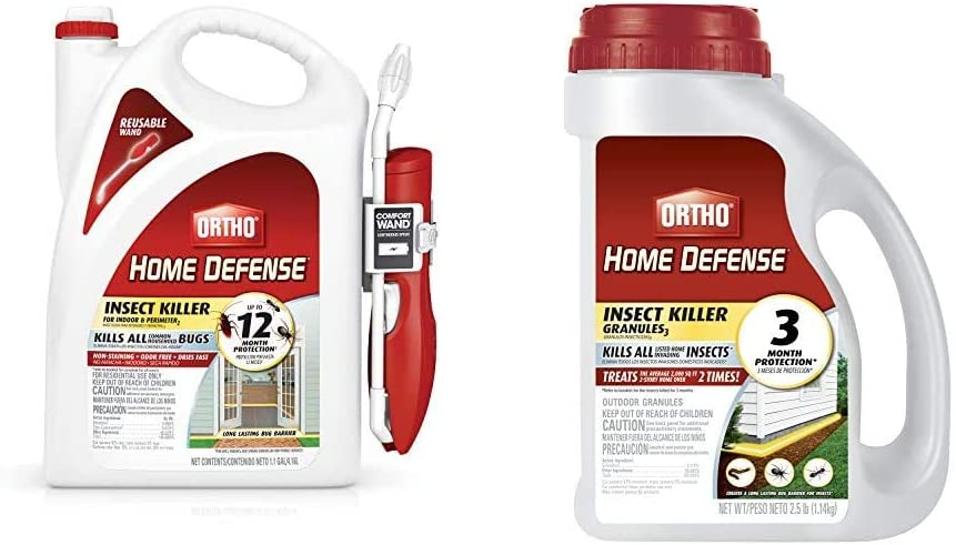 Ortho 0220910 Home Defense Insect Killer for Indoor & Perimeter2 with Comfort Wand Bonus Size, 1.1 Gal & Home Defense Insect Killer Granules 3, 2.5 lb.