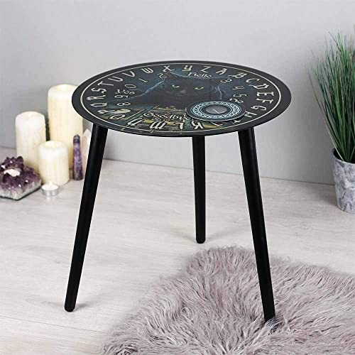 Ebros Occultic Wicca Lisa Parker The Dark Reader Mystical Witching Hour Tarots Black Cat Ouija Spirit Board 16″ Tall Round Side Table Gaming Furniture Metaphysical Spiritualist Decorative Table