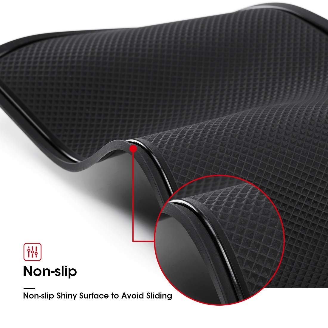 JAUTO Custom Fit Cup and Center Console Liner Acessories for Tesla Model 3 2017 2018 2019 7-PC Set Red Trim