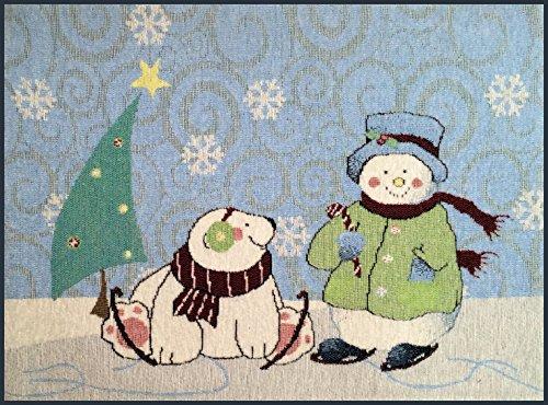 Manual Arctic Holiday Polar Bear Christmas Snowflake Tapestry Placemats UBAHP 18.5x13