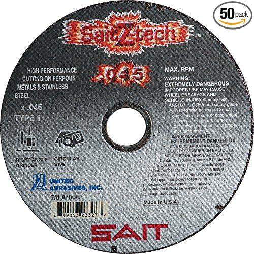 "50 United Abrasives Saint 23101 Type 1 Cut Off Wheels 4-1//2/"" X .045 X 7//8/"" NEW"