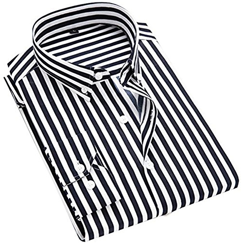 - ERZTIAY Men's Classic Casual Vertical Striped Slim Fit Long Sleeve Dress Shirts Black
