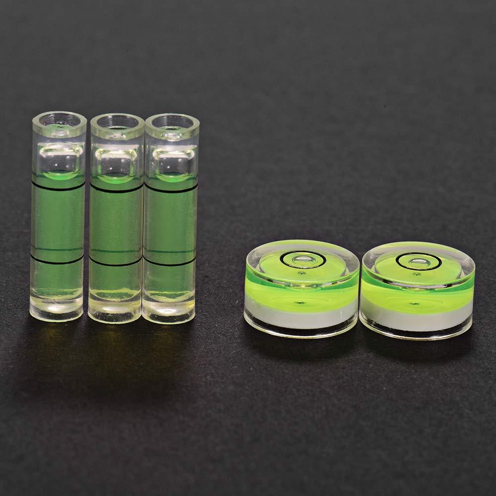 5pcs Kalaok Indicador de nivelaci/ón de burbuja de precisi/ón de nivel de burbuja mini para cartucho de cabeza con placa giratoria de fon/ógrafo Pack