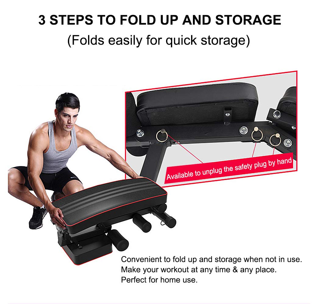 Yoleo Adjustable Weight Bench - Utility Weight Benches for Full Body Workout, Foldable Incline/Decline Bench Press for Home Gym by Yoleo (Image #4)