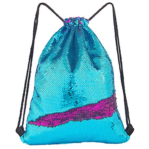 Play Tailor Mermaid Sequin Bag, Reversible Sequins Drawstring Backpack Glittering Outdoor Sports Bag Dance Bag -