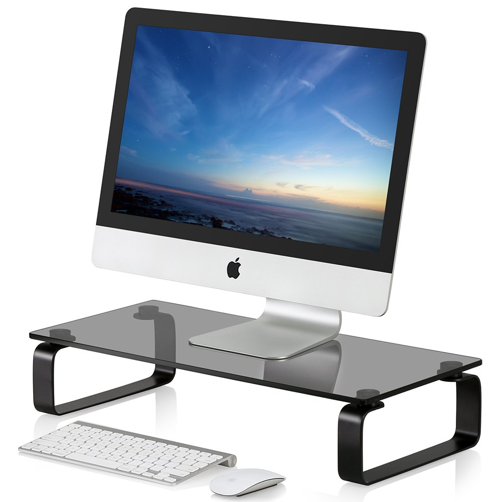 FITUEYES Glass Monitor Stand Computer Laptop TV Screen Riser DT106004GW