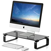 Fitueyes Glass Monitor Stand Computer TV Screen Riser DT106005GBUK