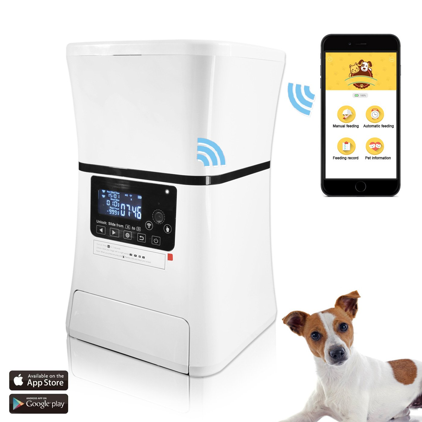 Automatic Pet Feeder, Smart Programmable Food Dispenser for Dog & Cat. For Dry & Wet Food. With IOS & Android APP, 6 lb Capacity