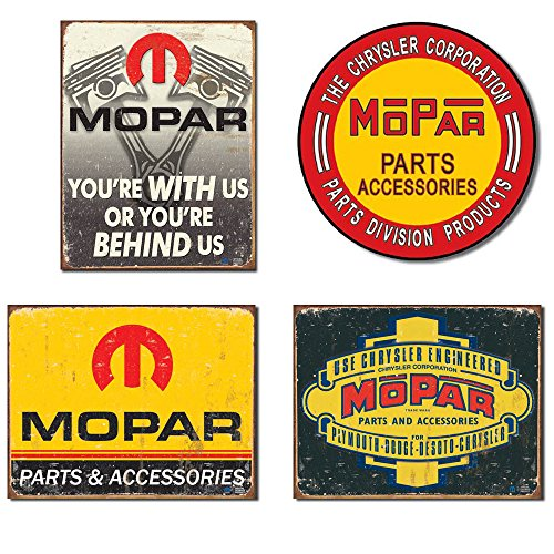 Mopar Sign Bundle - Mopar Behind Us, Mopar The Chrysler Corporation, Mopar Logo '64 - '71, Mopar Logo '37 - '47 ()