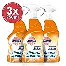 Sagrotan Küchen-Reiniger – Desinfektionsmittel für Küchenoberflächen – 3 x 750 ml Pumpspray mit neuem Sprühkopf im praktischen Vorteilsset