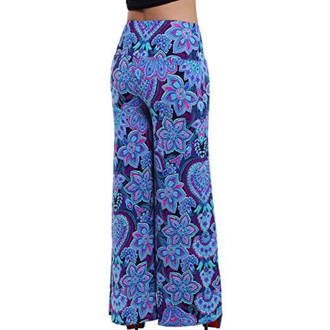 d1bb173389b Sixcup Women Sexy Wide Leg Stretchy Boho Floral Printed Elastic Waistband  Mid-Waist Flare Pants Palazzo Bootleg Trousers  Amazon.co.uk  Clothing