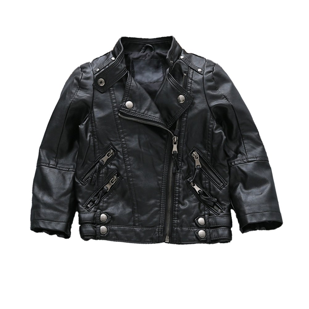 e0d88633c Amazon.com  Unisex Boys Girls Moto Faux Pu Leather Jacket Zip Up ...