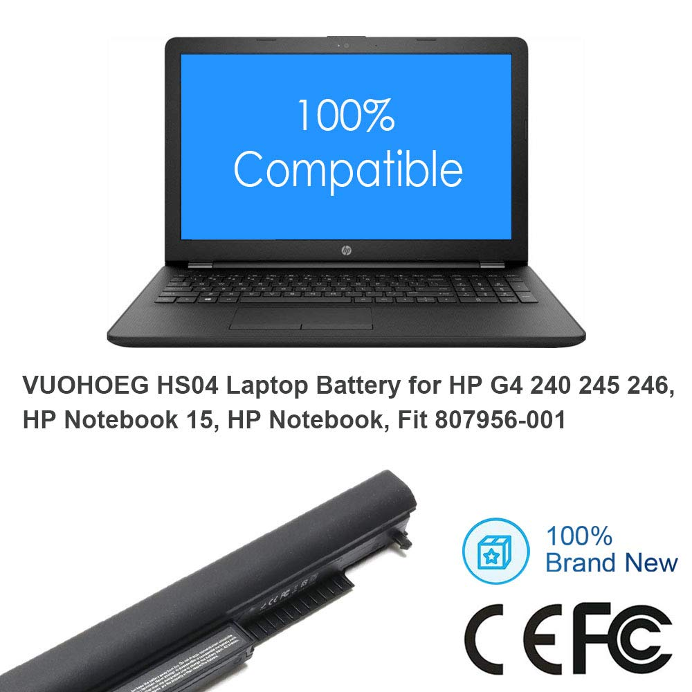 Amazon.com: VUOHOEG HS04 HS03 Laptop Battery Replacement for HP G4 240 245 246 250 256, HP Notebook 15, HP Notebook 14,Fit P/N 807956-001 807957-001 ...