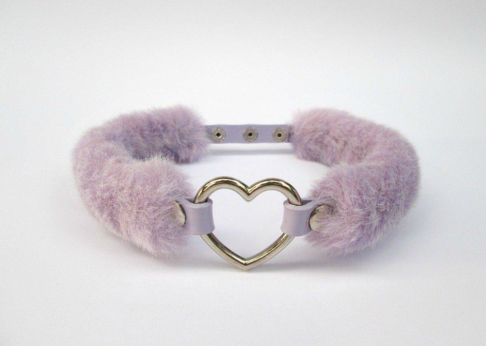 Amazoncom Kawaii Heart Choker Ddlg Collar Faux Fur