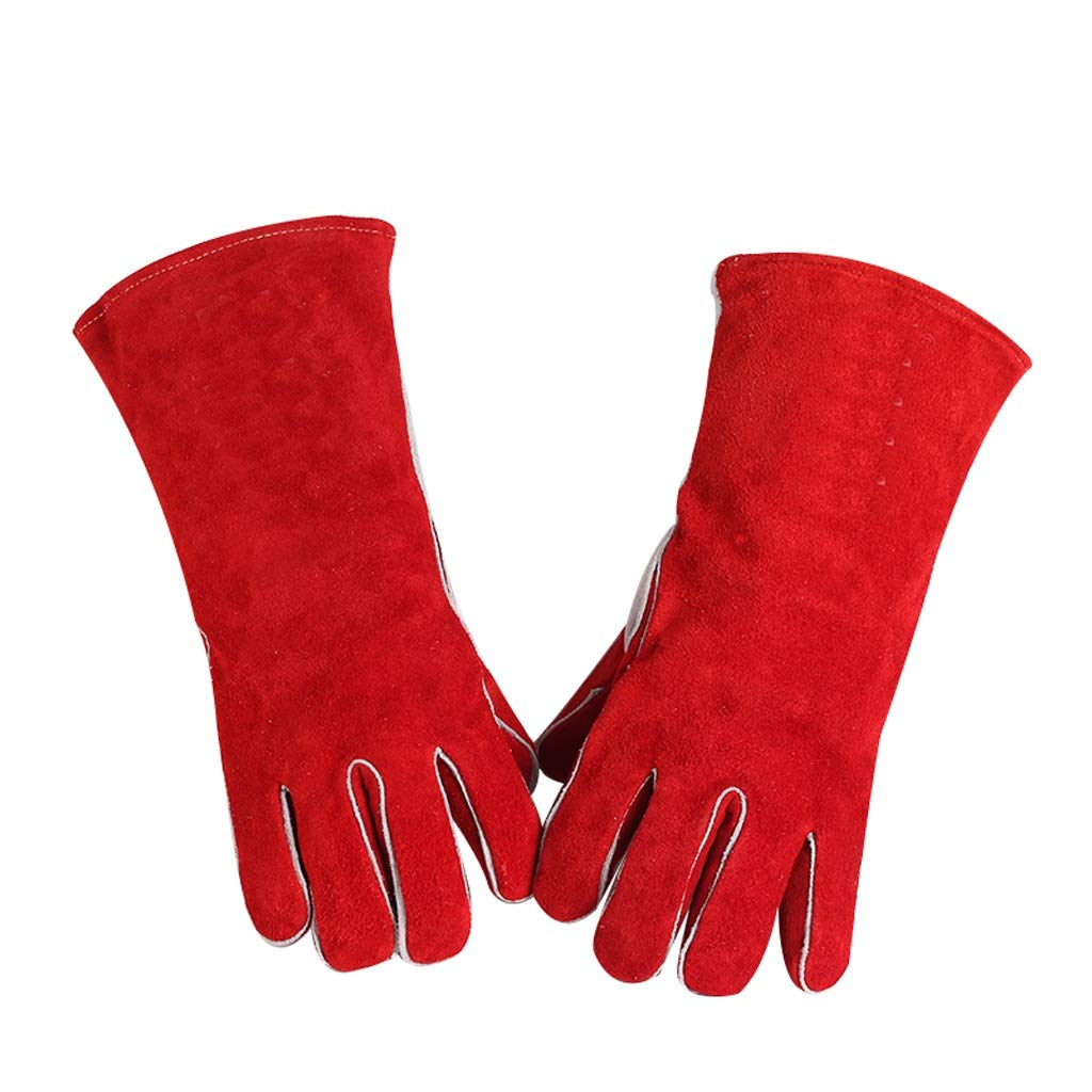 MOXUAN Protection Function Electric Welding and Long Gloves, Leather Welder, Protective Gloves, Heat-Insulating and Wear-Resistant, Red handguard